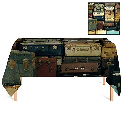 (SATVSHOP Rectangular Tablecloth /70x132 Rectangular,Vintage Colorful Vintage Suitcase Antique Leather rative Travel Gift Map Nostalgia Brown Cream Green.for Wedding/Banquet/Restaurant.)