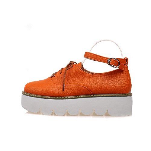 Orange runde Schnalle Kitten geschlossene PU feste Frauen Schuhe Pumps Zehe Heels VogueZone009 1BAXqPWgW