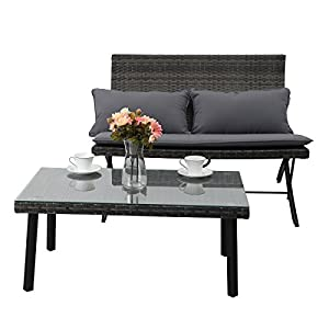 PHI VILLA Wicker Patio Furniture Set Folding Rattan Recliners Chairs Set - 4 Piece Dining Set, Grey