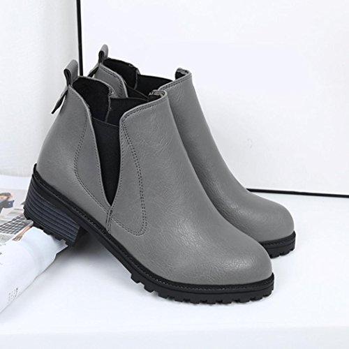 Fullkang Nieuwe Dames Winter Enkellaarzen Lage Hakken Mode Laarzen Herfst Winter Laarzen Schoenen Grijs
