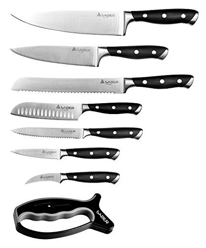 Saber Knives Fully Forged Entourage 9 Piece Cutlery Set with Rotating Block, Silver/Black by Saber Knives