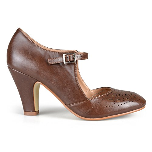 Jane Brown Suede Mary - Brinley Co. Womens Cutout Round Toe Mary Jane Pumps Brown, 8.5 Regular US