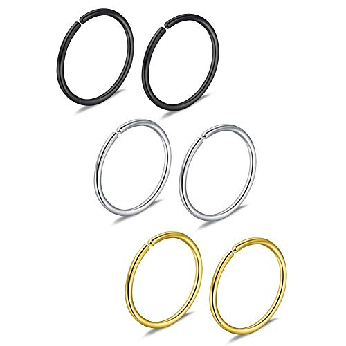 6pcs 20G 8mm Non Pierced Stainless Steel Clip on Closure Round Ring Fake Nose Lip Helix Cartilage Tragus Ear Hoop (Belly Wholesale Chains)