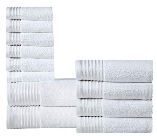 600 GSM Ultra Soft 100% Combed Cotton 12-Piece Towel Set (White): 2 Bath Towels, 4 Hand Towels, 6 Washcloths, Long-Staple Cotton, Spa Hotel Quality, Super Absorbent, Machine Washable