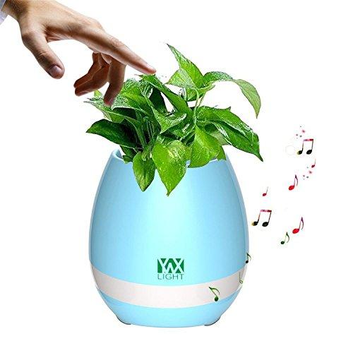 Smart Touch Sensors LED Night Light LED Music Bluetooth Flower Pot Light Flower Vase Play The Piano Decoration Planter Speaker (Color : Blue)