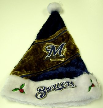 Milwaukee Brewers MLB Colorblock Himo Plush Santa Hat
