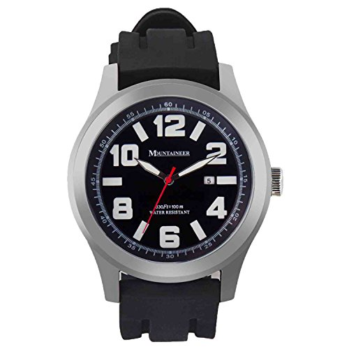 Mountaineer Mens Sport Watch Black Silicone Rubber Band Big Face Large Oversized Dial Date Reloj MN8040