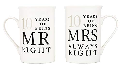 Ivory 10th Anniversary Mr Right & Mrs Always Right Ceramic Mugs Gift Set Thoughtful and Unique Gift Idea Dishwasher and Microwave Safe by Happy Homewares -
