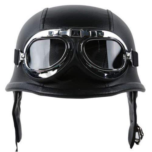 TCMT Dot Adult German Style Black Leather Half Helmet Motorcycle Chopper Cruiser Biker Helmet+Goggles XL ()