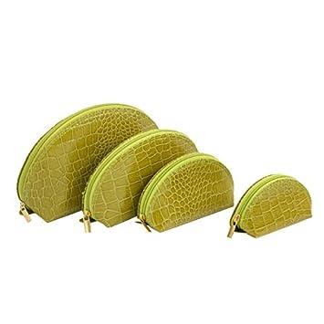 Mujer Olive Green de imitación de piel de cocodrilo de impresión Bolsa de maquillaje 4 en