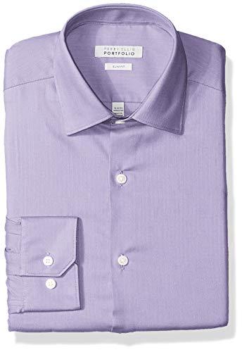 (Perry Ellis Men's Slim Fit Wrinkle Free Dress Shirt, Light Purple Herringbone, 15.5)