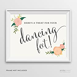 Andaz Press Wedding Party Signs, Floral Roses Print, 8.5-inch x 11-inch, Here's a Treat for Your Dancing Feet! Flip Flop Sandals High Heels Shoes Dance Floor Reception Sign, 1-Pack