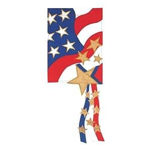Stars & Stripes Adorned Garden Size Applique Flag