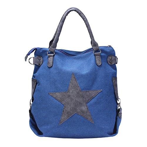 Star Tote Messenger Printing Bags Shoulder Travel Handbag Bat JAGENIE Canvas Shopping Blue Khaki 41Yy8T