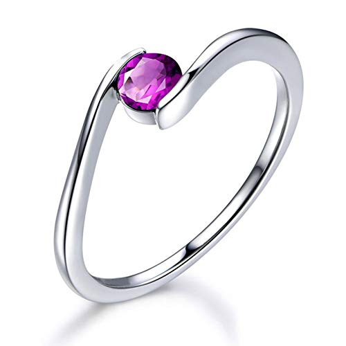 MoAndy Sterling Silver Rings for Women Natural Amethyst Anniversary Wedding Band Engagement Ring Silver Size 7.5