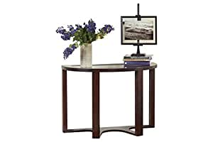 Ashley Furniture Signature Design - Marion Sofa Table - Copntemporary Style - Entertainment Console Table - Semi Circle - Dark Brown with Glass Top