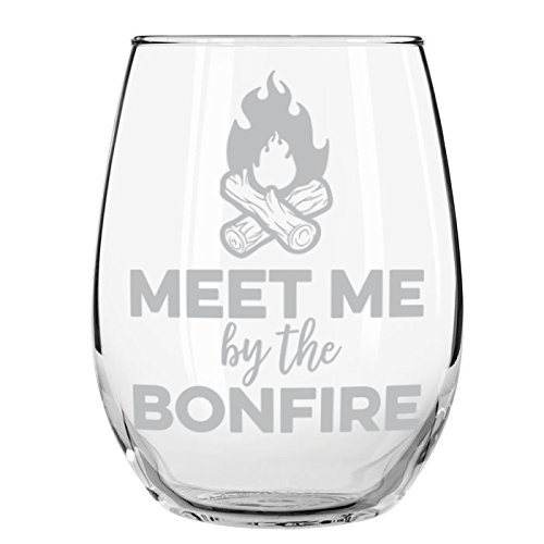 - Meet Me at the Bonfire Stemless Wine Glass, 15 oz.