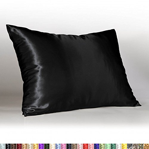 Sweet Dreams - Blissford Luxury Satin Pillowcase with Zipper, Standard Size, Black (Silky Satin Pillow Case for Hair) By Shop Bedding (1-Pack)