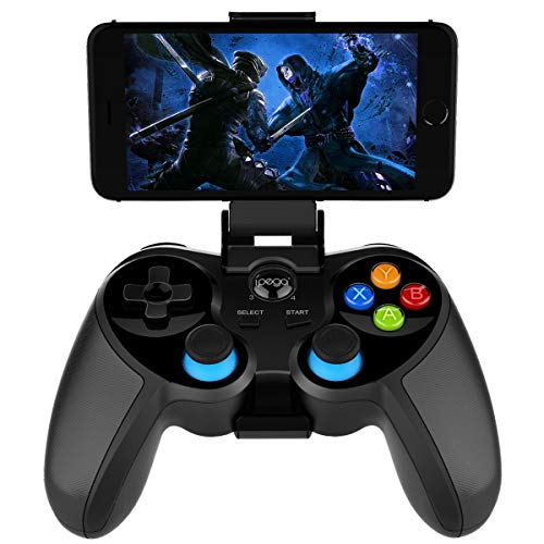 PG-9157 Wireless Bluetooth Game Controller for iPhone, iPad, Android Phone Tablet, Smart TV, TV Box Gamepad + Joystick + Phone Holder Gamepad Trigger PUBG Controller