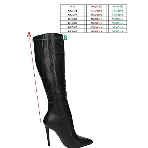 Stiletto Heel Pointed Toe Knee High Boots - Black, Brown UK5 - EU38 - US7 - AU6 Black
