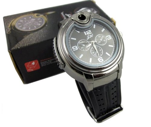 RoKo Novelty Real Watch with Collectable Butane Cigarette Cigar Lighte (Black)