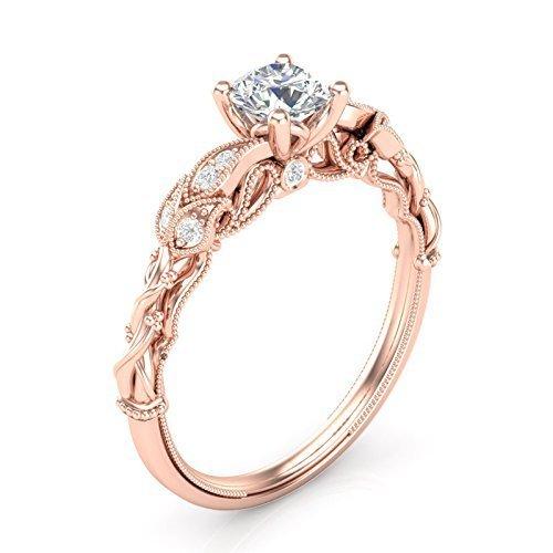 14K Rose Gold Floral Engagement Ring Filigree Milgrain Ring Vintage Engagement Ring Tree Ring Forever One Colorless Moissanite Center