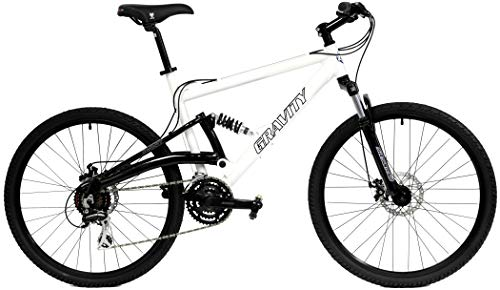 2020 Gravity FSX 1.0 Dual Full Suspension Mountain Bike with Disc Brakes (White, 19in)
