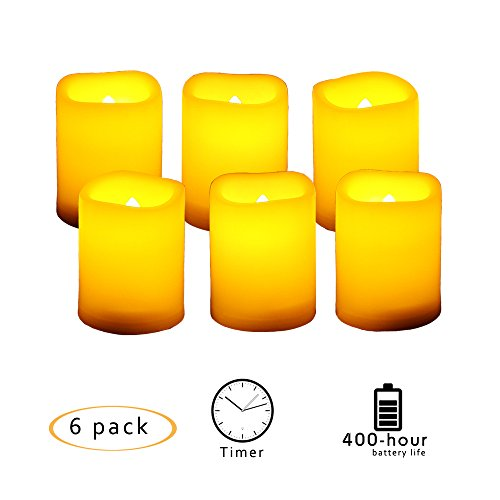 Candle Choice 6 PCSFlameless Votive Candles with Timer, LED Votives, Battery Operated Votives with Timer, Realistic Flickering, Long Battery Life, 400+ Hour / CR2450 Battery, Size (Battery Operated Votive)