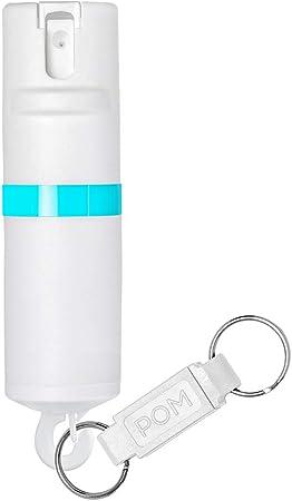 POM Pepper Spray Flip Top Snap Hook - Maximum Strength OC Spray Self Defense - Tactical Compact & Safe Design - Quick Key Release - 25 Bursts & 10 ft Range - Accurate Stream Pattern