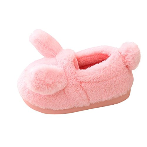 Baby Bunny Slippers - Lotus.flower Baby Girl Fluffy Cartoon Bunny Warm House Slippers Velvet Plush Pompom Shoes (1.5-2T, Pink)