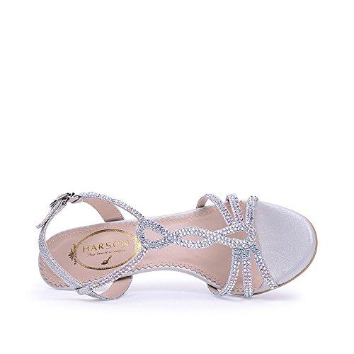 Rhinestone mujeres de Plata amp; aguja hebilla las abierta Verano de T de TMKOO zapatos las de de sandalias punta 8HxwBqgw