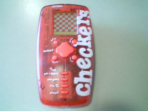 1998 Radica Checkers Electronic Lcd Handheld Game (Reddish Clear See-through Version, Red Buttons Version) Takes 2aa Batteries(1998 Version) (Checkers Handheld)