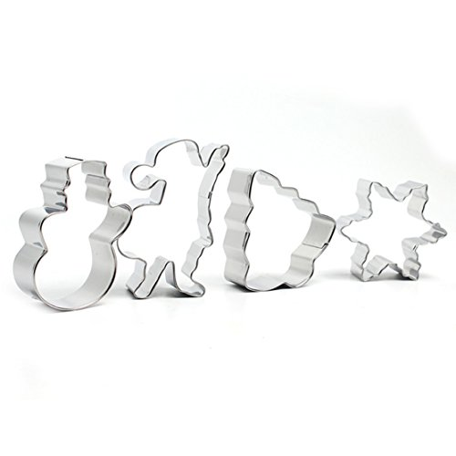 FantasyDay Christmas Cookie Cutter Set Vegetable & Fruit Stamp Set Stainless Steel Pastry Cutters for Biscuits, Dough, Fondant, Donuts, Muffins, Jelly - 4 Pcs Holiday Shapes #2