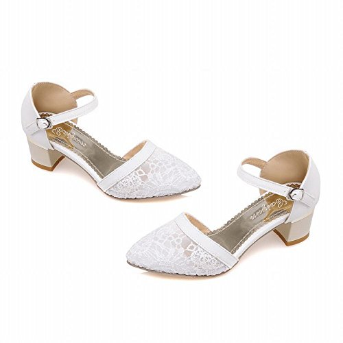 Carol Shoes Women's New Style Charm Mid Heel Buckle Lace Court Shoes White BRBDW