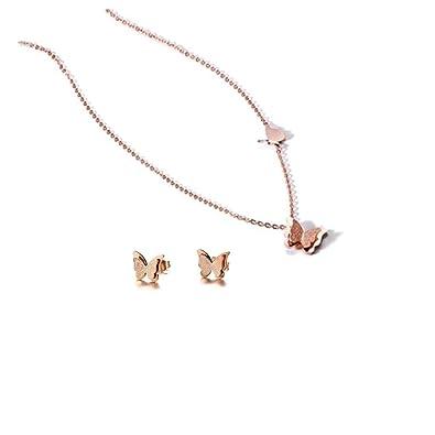 Conjunto de collar y pendientes de mariposa, acero ...