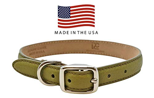 Real Leather Creations Linden Green Extra Large Genuine Colorado Leather Dog Collar American Factory Direct - Various Sizes and Colors - Made in USA - American Collar Leather