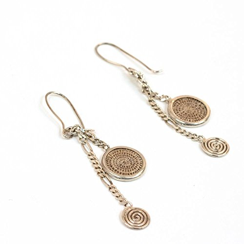Fair Trade Sisal and Alloy Mini Classic Disk Bezel Earrrings w/Hanging Spiral, Oyster, SJE58OY by Baskets of Africa