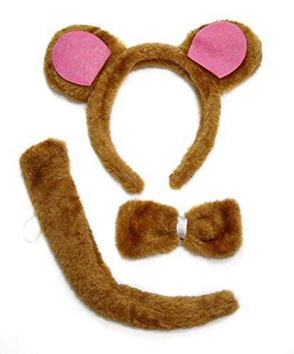 Petitebella Headband Bowtie Tail Unisex Children 3pc Costume (Light Brown Bear)