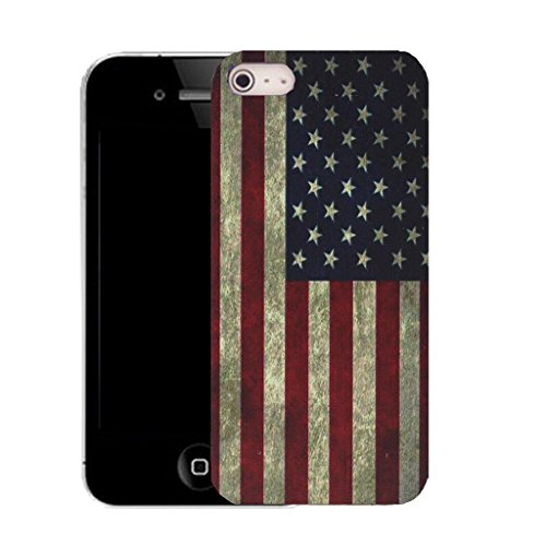 Mobile Case Mate IPhone 4s clip on Silicone Coque couverture case cover Pare-chocs + STYLET - american flag pattern (SILICON)