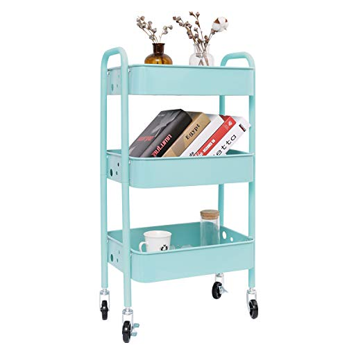 3-Tier Metal Rolling Utility Cart, Heavy Duty Storage Organizer Art Cart Craft Cart, ()