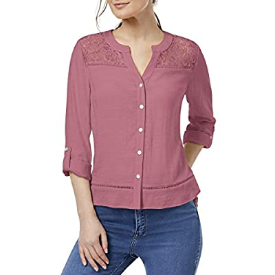 NY Collection Womens Petites Lace Yoke Button-Down Top