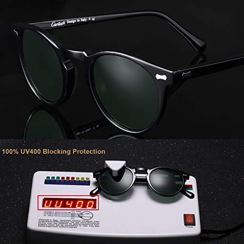 E Lenti Uomini Carfia Uv400 Retro Unisex Sole Occhiali Polarizadas Verde Da Donne Nera Cornice Gli Tondi Con Per hBQrxdCots