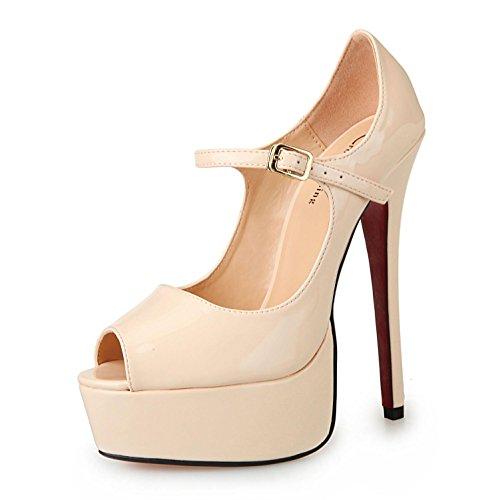 Open Stiletto Toe Grande Plus Sandales Chaussures PU 50 40 Femmes Couleurs L YC Talons Partie Talon Taille apricot de xq0RCRSfw
