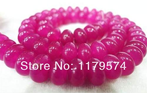 - Calvas Trendy Accessory Crafts Parts Wholesale 5x8mm Rose Red Chalcedony Semi Finished Stones Balls Gifts Abacus Loose DIY Bead 15''