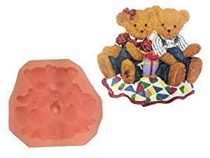Happy teddy bears nuevo apto para alimentos molde de silicona para tartas decor jab n vela kit - Moldes silicona amazon ...