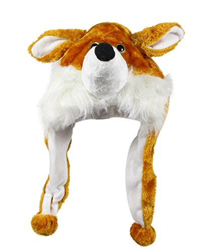 Bioterti Plush Fun Animal Hats –One Size Cap - 100% Polyester With Fleece Lining (Fox) (Fox Costume For Teens)
