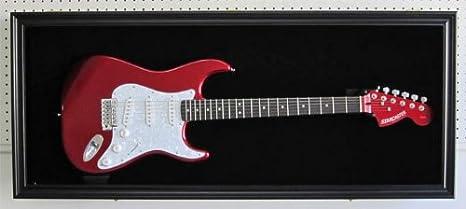 Fender/Guitarra Eléctrica vitrina armario Shadow Box con colgador, puerta de protección UV con cerradura, Horizontal o Vertical, Negro (acabado gtar2 (Bl) ...