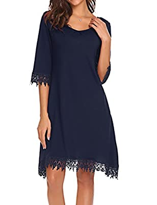 Tobrief Women's V-Neck Half Sleeve Lace Trim Casual Loose T-Shirt Dress with Pockets
