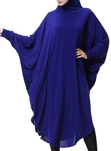 Les Femmes Cromoncent Manches Longues Saudi Musulmanes Robes Irrégulières Maxi Hijab Loose Bleu
