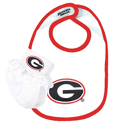 Future Tailgater Georgia Bulldogs Baby Bib and Socks with Lace Set
